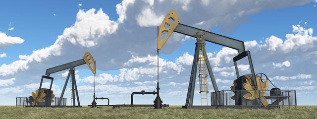 Ölpumpen in einer Landschaft