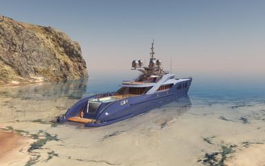 Luxusyacht in einer Bucht