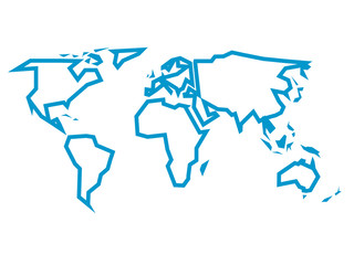 Simplified blue thick outline of world map divided to six continents. Simple flat vector illustration on white background.