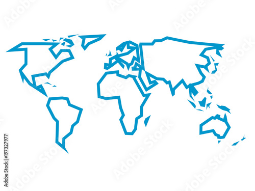 Simplified blue thick outline of world map divided to six simplified blue thick outline of world map divided to six continents simple flat vector illustration gumiabroncs Choice Image