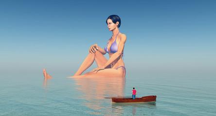Weltenbummler im Boot und riesige badende Frau im Meer