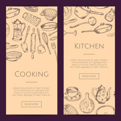 Vector banners illustration with hand drawn kitchen utensils