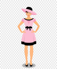 beautiful woman cartoon character in pink dress and hat