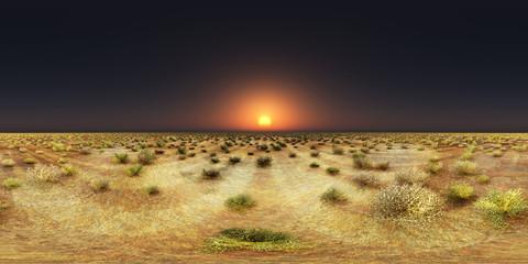 360 Grad Panorama mit einem Sonnenuntergang über einer Steppenlandschaft
