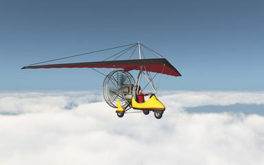 Ultraleichtflugzeug über den Wolken