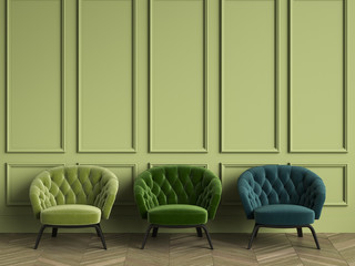 3 Tufted green armchairs in classic interior with copy space.Green walls with mouldings. Floor parquet herringbone.Digital Illustration.3d rendering Fototapete