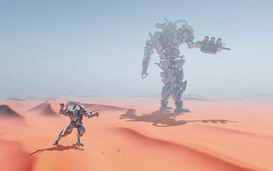 Riesige Roboter in einer Sandwüste
