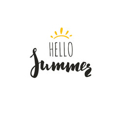 Hello Summer. Vector Inspirational Summer Typography, Quote for hipster design logo, typography, banner.