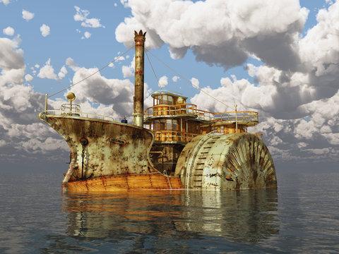 Fantasie Raddampfer im offenen Meer