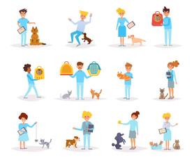 Veterinarians with animals.