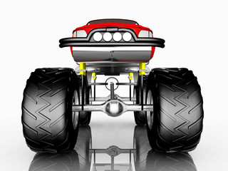 Front view of a monster truck