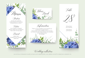 Wedding floral personal menu, place, information, table number card design set with elegant blue hydrangea flowers, white garden roses, green eucalyptus, lilac branches, greenery leaves & cute berries