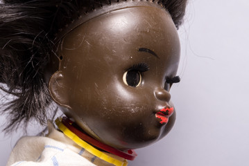 Vintage plastic doll, African girl
