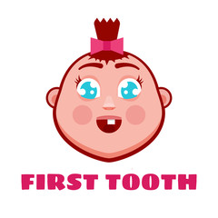 First tooth greetings card. Cartoon cute baby. Vector illustration