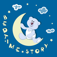 Polar bear-toddler. BEDTIME STORY. Emblem, banner, poster with a polar bear. Design for printing on fabric or paper. Illustration for children's book in cartoon style.