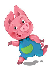 cartoon scene with pig running and looking around - illustration for children