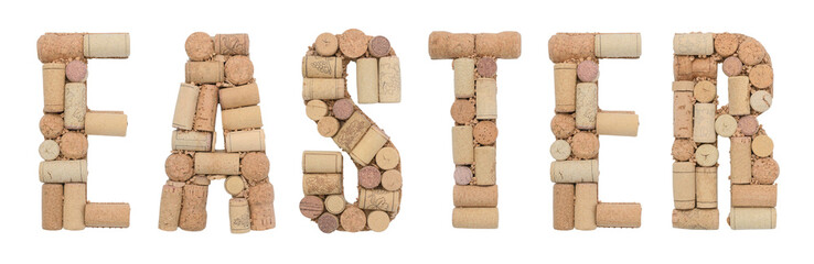 Word Easter made of wine corks Isolated on white background
