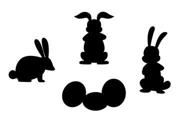 isolated silhouettes of rabbits easter and eggs. vector illustration.