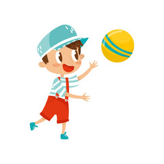 Little boy plaing with ball, cute cartoon character vector Illustration on a white background