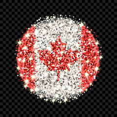 Canada flag sparkling badge. Round icon with Canadian national colors with glitter effect. Button design. Vector illustration. One of a series of signs