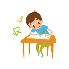 Elementary school student writing at school, education and knowledge concept, colorful cartoon character vector Illustration on a white background