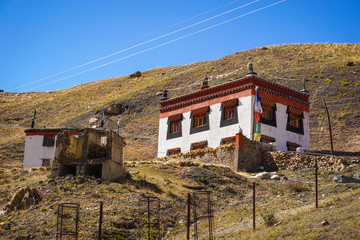 Chicham village at ~4300m above sea level in the Himalayas. Rich in Tibetan culture and architecture. Spiti valley, Himachal Pradesh, India.