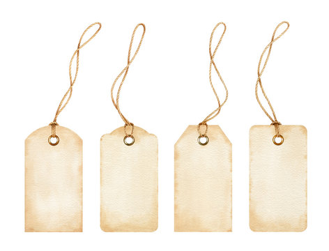 Set of blank watercolor tags