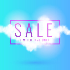Modern sale poster with realistic clouds in the background.