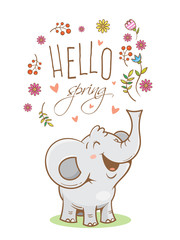 Vector spring card with cute cartoon elephant and flowers. Spring time. Vector contour colorful image. Little joey. Funny African animal.