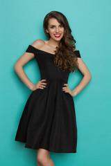 Smiling Elegant Woman In Black Cocktail Dress