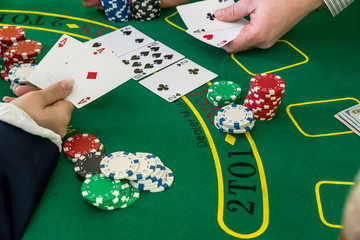 Woman play with dealer, black jack, casino