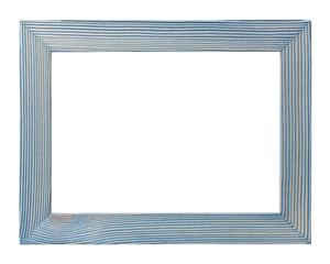 Empty brushed wooden photo frame isolated on white background