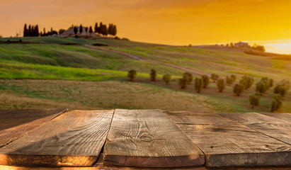 wooden planks with Italian landscape on background. Ideal for product placement