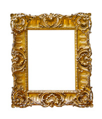vintage gold plated frame on white isolated background