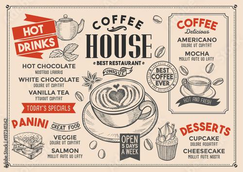 Coffee restaurant menu. Vector drink flyer for bar and cafe. Design ...