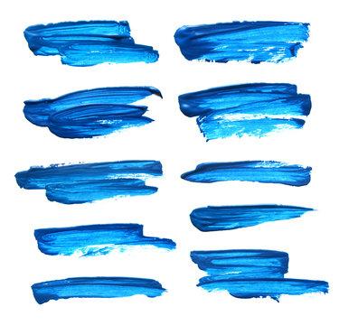 Set of blue gouache brush strokes