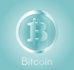 Cryptocurrency coin Bitcoin (BTC) with a realistic metal bright blue design. Background about electronic currency, business and finance. Vector EPS 10 Illustration.