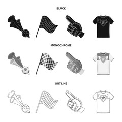 Pipe, uniform and other attributes of the fans.Fans set collection icons in black,monochrome,outline style vector symbol stock illustration web.