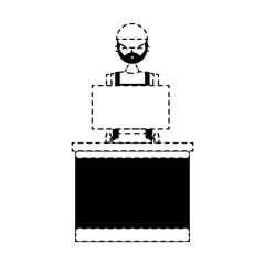 barista female in uniform standing behind cash register vector illustration dotted line design