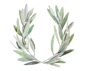 hand painted watercolor olive wreath, isolated on white background.