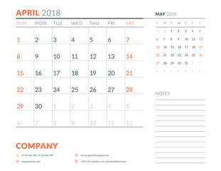 April 2018. Calendar planner design template. Week starts on Sunday. Stationery design