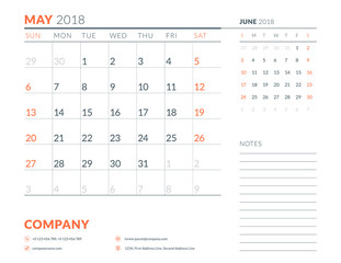 May 2018. Calendar planner design template. Week starts on Sunday. Stationery design