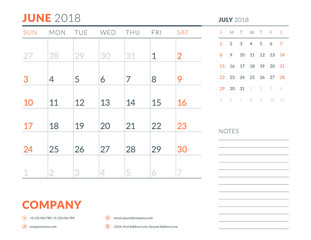 June 2018. Calendar planner design template. Week starts on Sunday. Stationery design