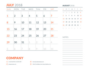 Jluly 2018. Calendar planner design template. Week starts on Sunday. Stationery design
