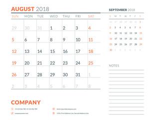 August 2018. Calendar planner design template. Week starts on Sunday. Stationery design