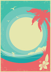 Tropical landscape with palms and sea waves.Vector paradise retro poster background