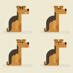 Cute funny dog welsh terrier set with different emotions. Sitting, eating, angry, shame, curiosity
