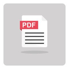 Vector design of flat icon, PDF portable document format file on isolated background.