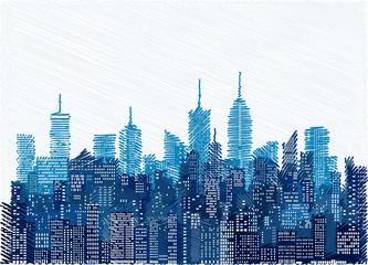 blue cityscape scribble windows