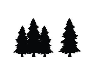 Black Pine Tree Sign Symbol Icon Logo Vector